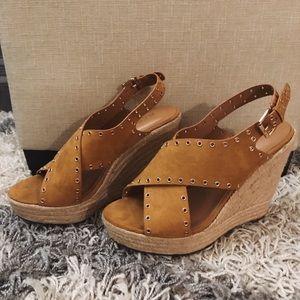 """""""Report"""" wedge heels - brown suede w/ detail"""